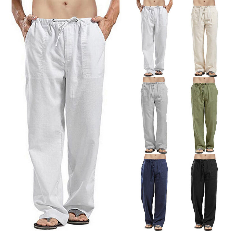 Mens Casual Cotton Linen Baggy Harem Pants Beach Drawstring
