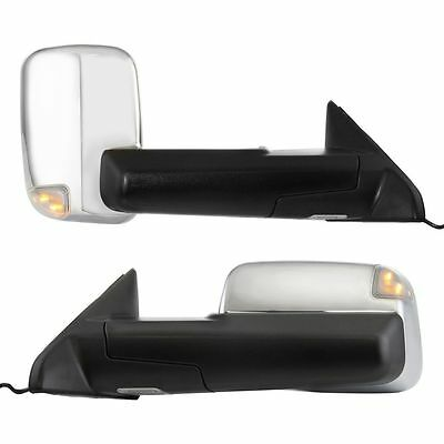New Set of 2 Driver & Passenger Side Power Heated Tow Mirrors For Dodge Ram Pair