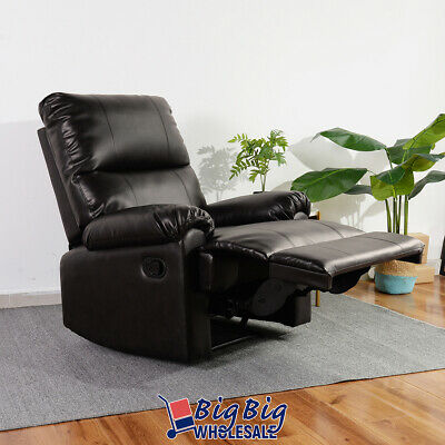 Modern Leather Recliner Chair Manual Couch Single Reclining Sofa Lounge Brown