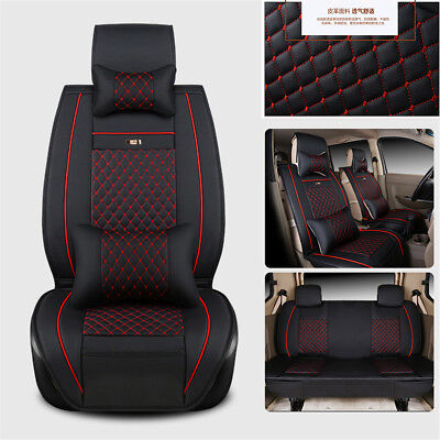 Deluxe PU Leather Car Seat Cover Set For  7-Seats Cushion PU leather w/ Pillows