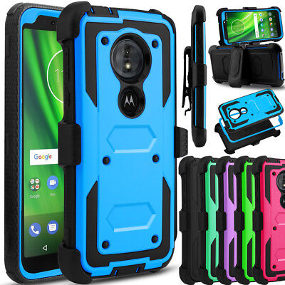 For Motorola Moto G6 Play/Forge Phone Case Hybrid Clip Holster Stand Armor Cover ()