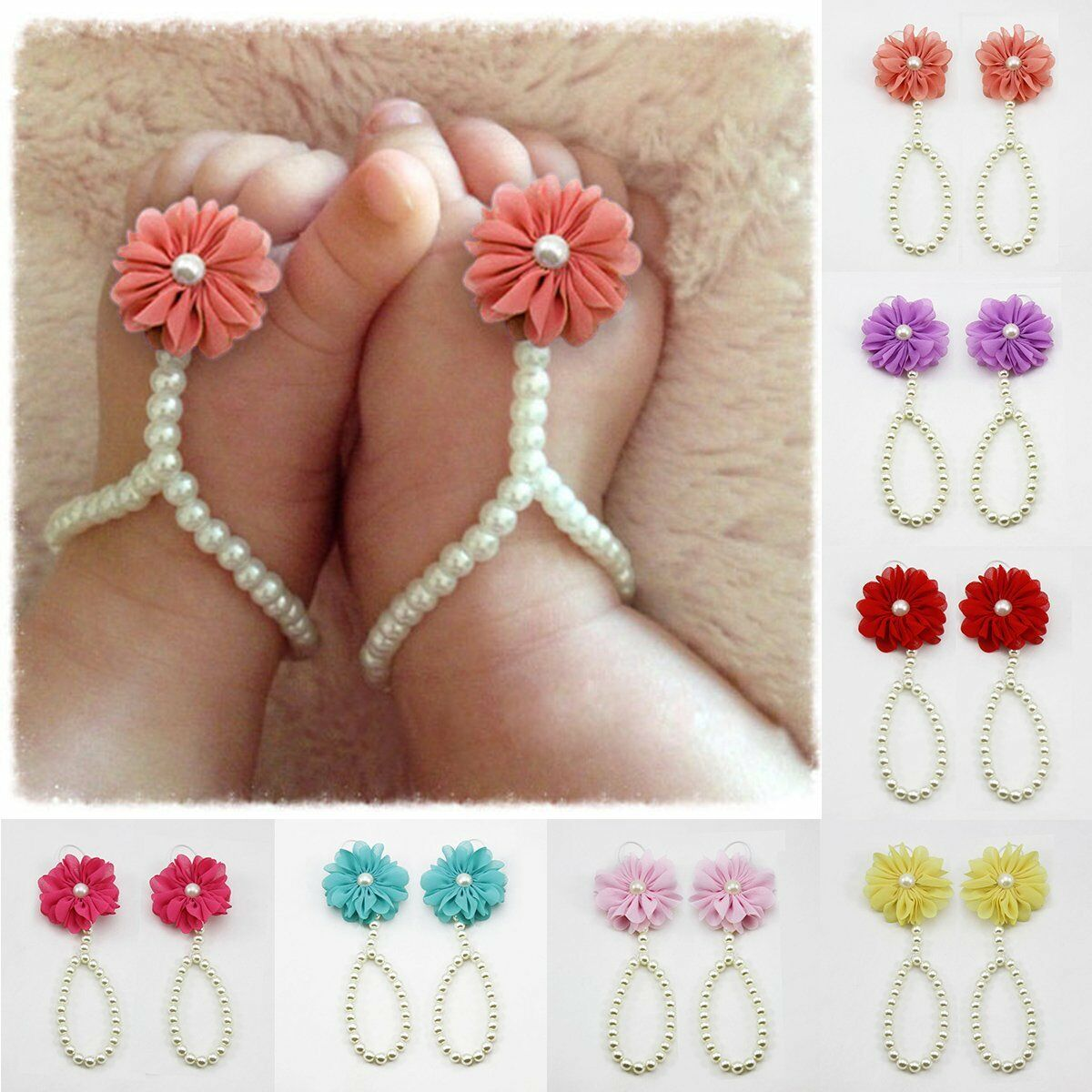 Summer Infant Sole Crib Barefoot Ring Flower Pearl Shoes Sandals For Kids Girl a