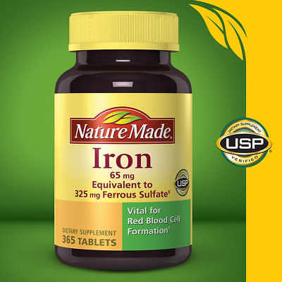 Quality Made Iron 65 mg - 365 Tablets Dietary Supplement October 2021