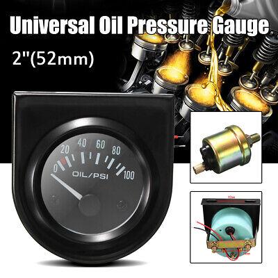 2 inch 52mm Universal Car Pointer Oil Pressure Gauge 0-100 PSI LED Light