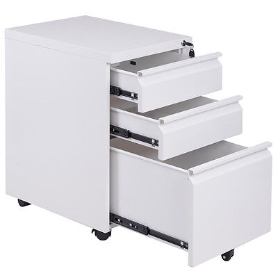 File Cabinet Rolling Mobile A4 Drawers Pedestal Storage Steel Home Office White