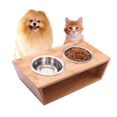 "4""H Double Raised Dog Bowl Elevated Pet Feeder  Cat Puppy Food Water Dish"