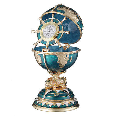 Used, Russian Faberge Egg / trinket jewel box The Globe with clock 5.5'' light blue for sale  Shipping to United States