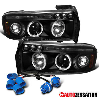 For 1994-2001 Dodge Ram 1500 2500 Sport Black Clear LED Halo Projector Headlight
