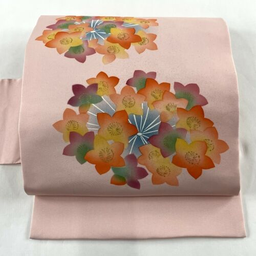 "Japanese Kimono SILK Nagoya OBI, Gold leaf, lace-cap hydrangea, Pink ,L152"".2042"
