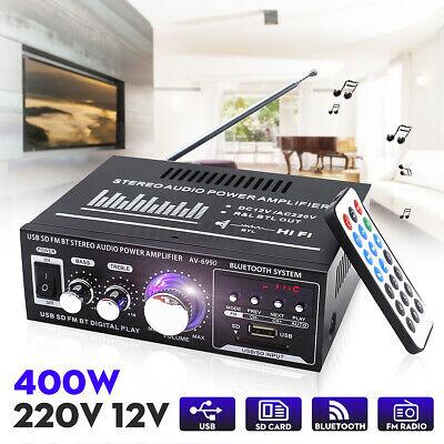 220V/12V 400W Estéreo Bluetooth Amplificador 2CH Coche Música Hogar HiFi USB