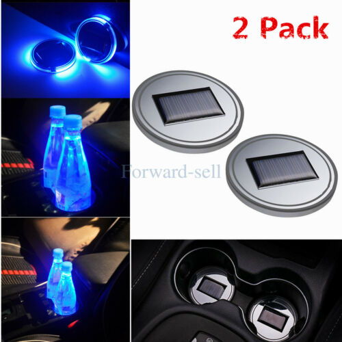 Car Parts - 2 PCS Solar Cup Holder Pad Car Accessories LED Light Cover Interior Decor Lamp