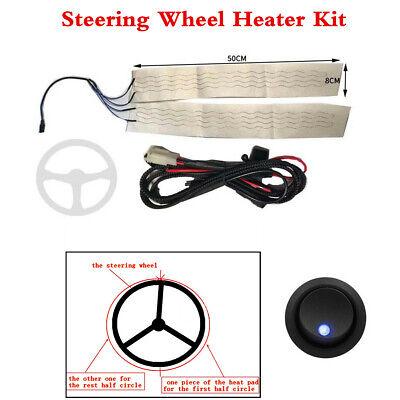 12V Round Switch +Car Steering Wheel Heater Kit Winter Heated Pad Universaal