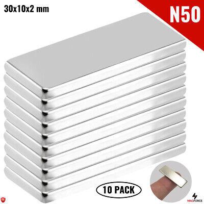 10pcs Super Strong N50 30x10x2mm Neodymium Magnet Iman Diy Rectangularbar Craft