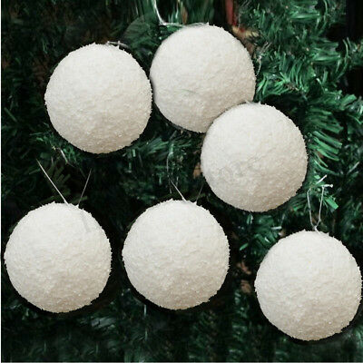 (6/12Pcs Christmas Snowball Balls 40-100mm Party Ornaments Bauble Xmas Tree Decor)