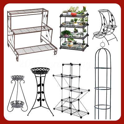 Metal Plant Stand Wrought Iron Garden Decor Flower Pot Shelves Outdoor Indoor -