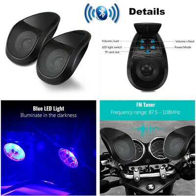 2x Waterproof Motorcycle Audio Stereo Bluetooth Speakers MP3 Player FM Radio 12V