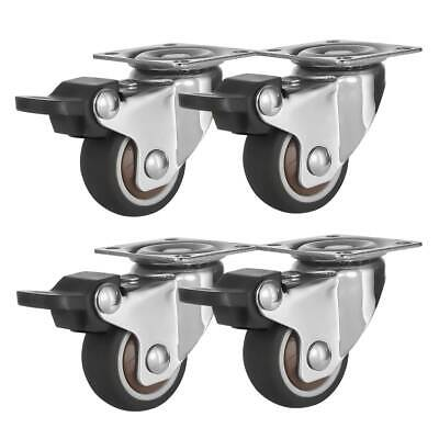 4 Pack 1.5 Low Profile Swivel Plate With Brake Brown Rubber Caster Wheels