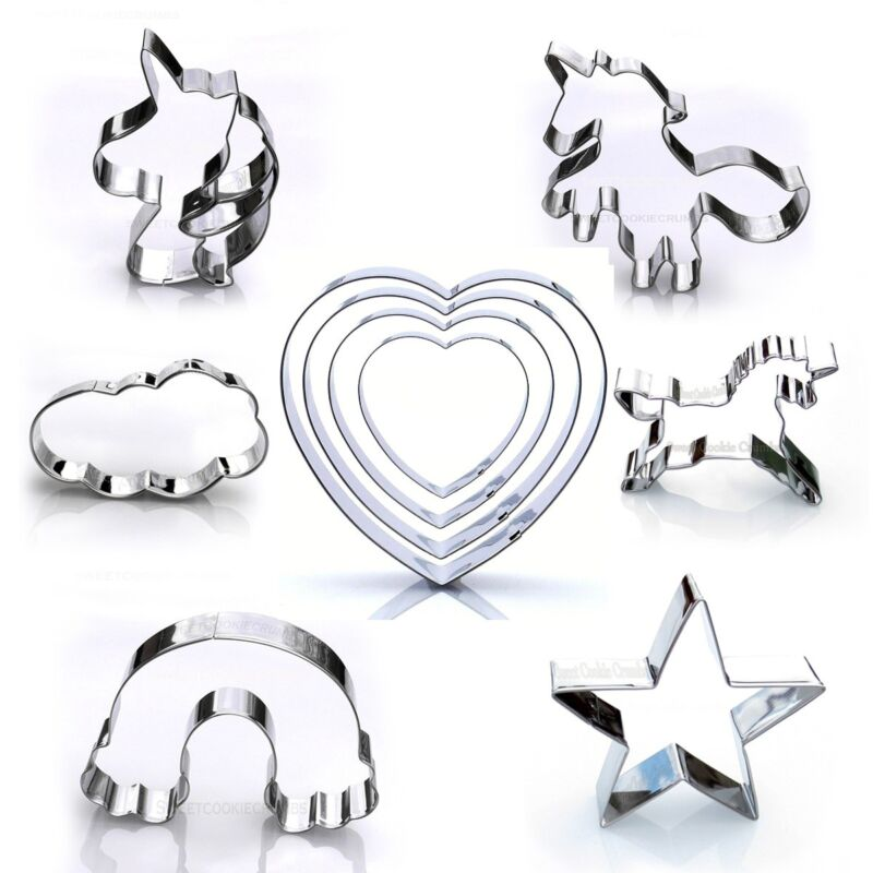 Unicorn Cookie Cutter Set, 10 Piece Party Pack, Stainless Steel