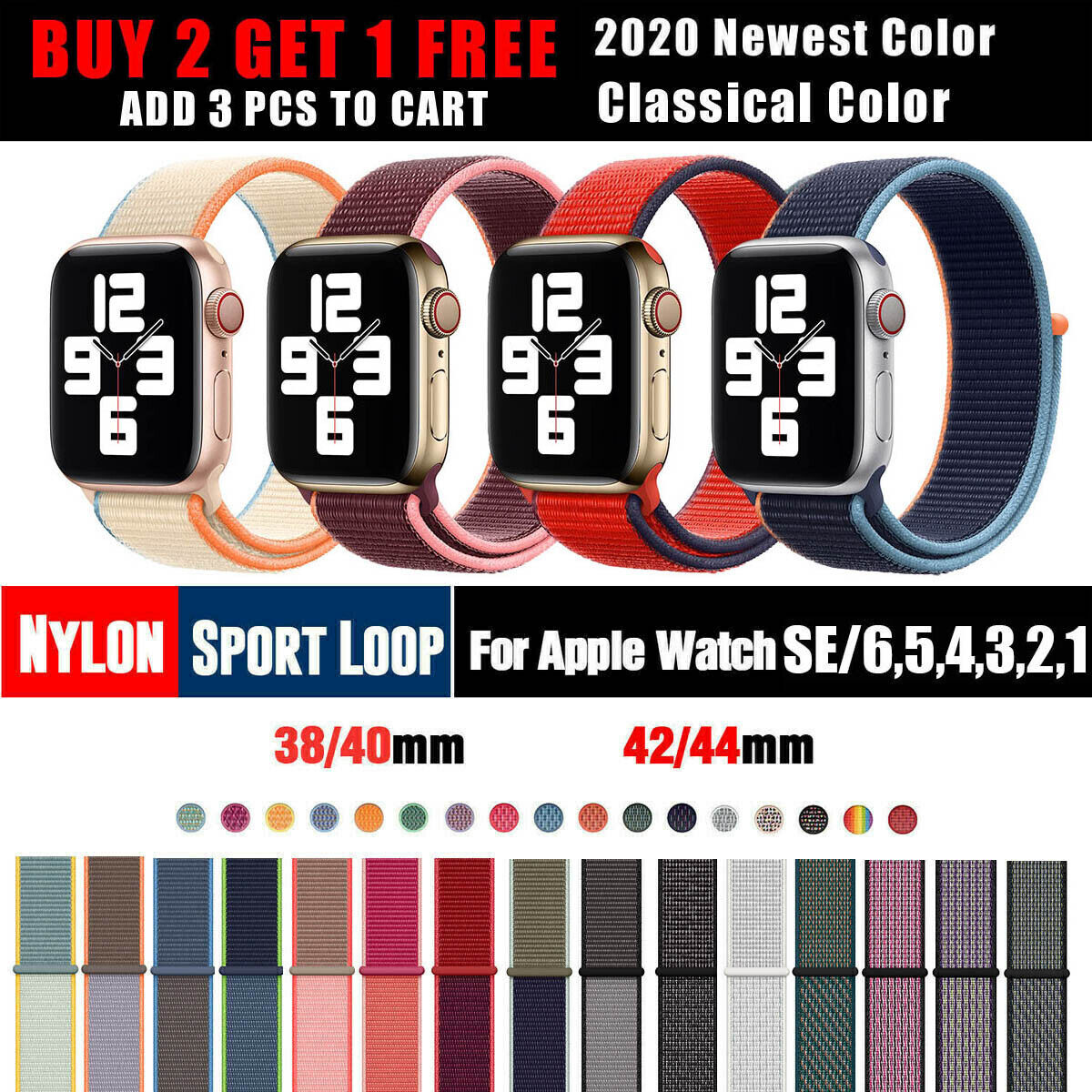 Nylon Sports Band Strap For Apple Watch 38/40/42mm/44mm iWat