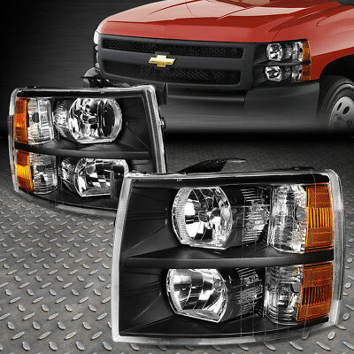FOR 2007 2014 CHEVY SILVERADO PAIR BLACK HOUSING AMBER SIDE HEADLIGHTLAMP SET
