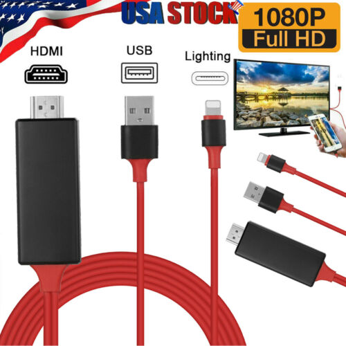 HDMI Mirroring Cable Phone to TV HDTV Adapter For iPhone 11 Pro max XR 6 7 8 Xs