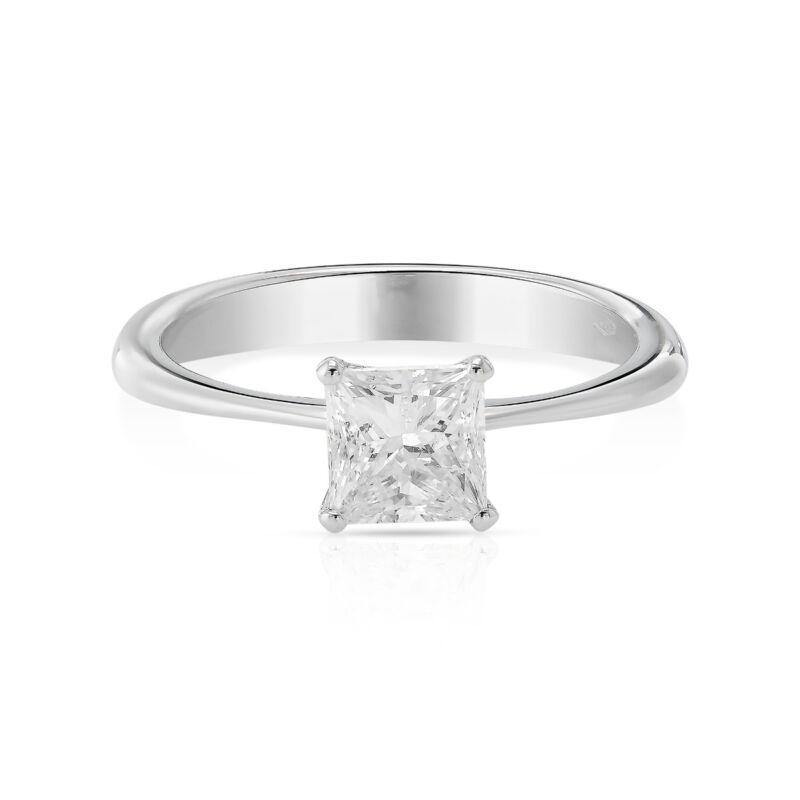 Diamond Solitaire Engagement 1 Carat Ring Princess Cut E Vs2 14k White Gold