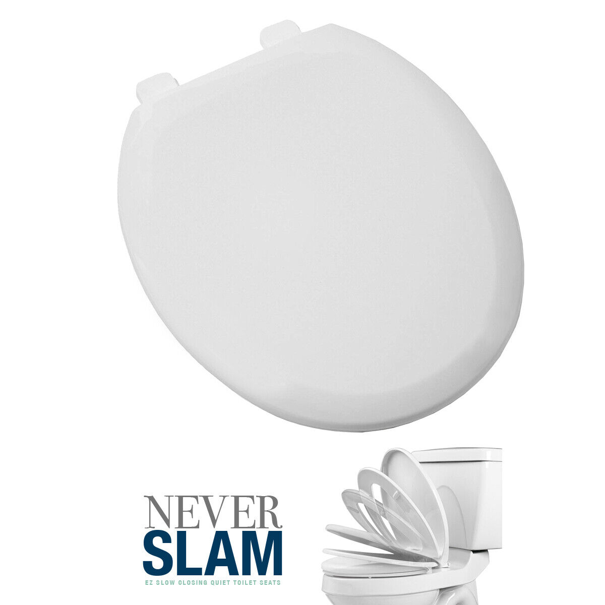 Premium Round Toilet Seat with Cover, White, Slow-Close, Quick Clean Bath