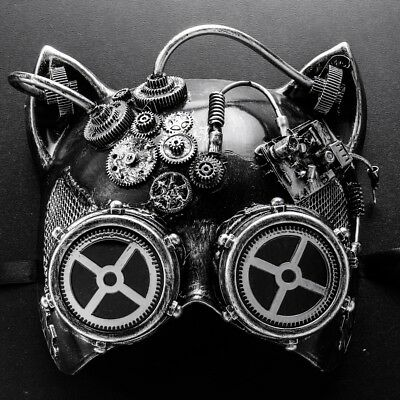 Venetian Mardi Gras Steampunk Cat Halloween Masquerade Mask Goggle Silver - Mardi Gras Cat Mask