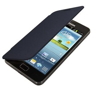 FLIP COVER FOR SAMSUNG GALAXY S2 I9100 BLUE CASE SLIM BACK SHELL HARD MOBILE