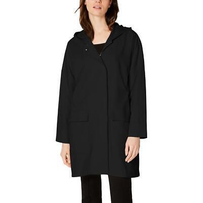 Eileen Fisher Womens Black A-Line Hooded Packable Rain Coat Jacket XL BHFO 8694