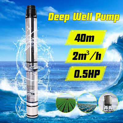 0.5hp 370w 40m 2m3h Bore Water Pump Deep Well Irrigation Stainless Steel