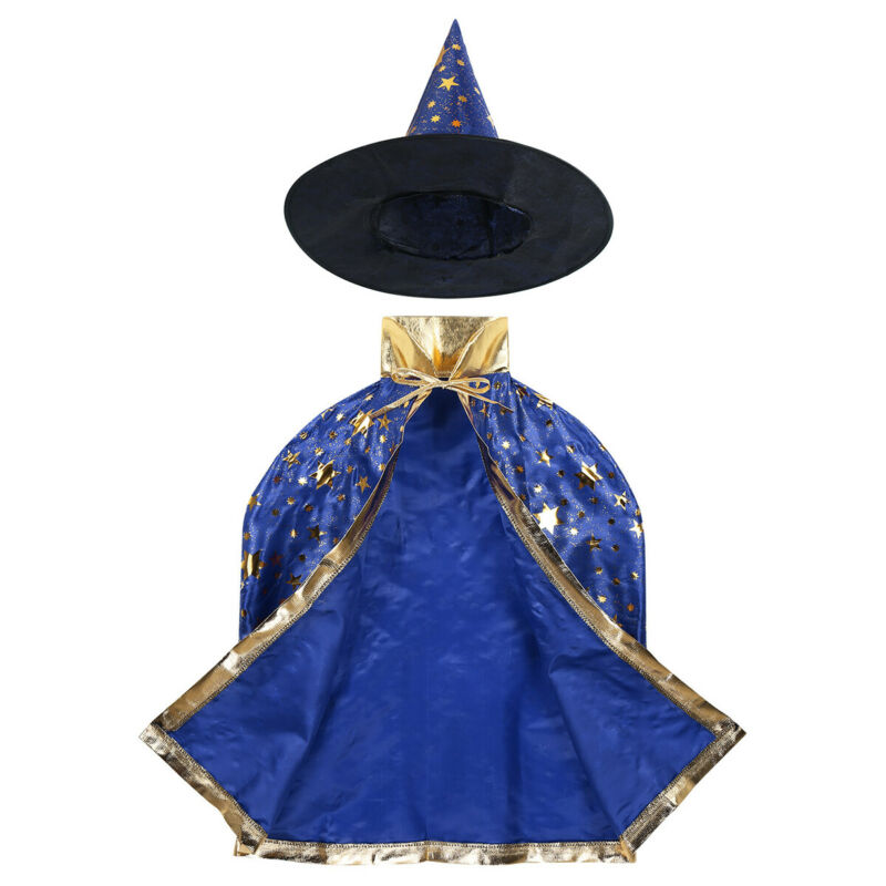 Secutoryang Halloween Cosplay Costumes Witch Cloak Wizard Cape with Hat for Boys Girls