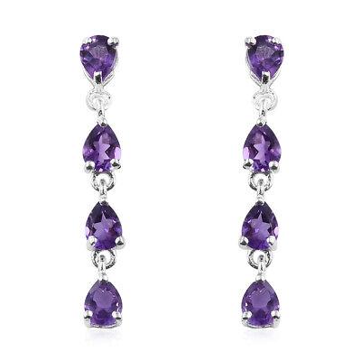 Girls Amethyst 925 Sterling Silver Long Dangle Drop Earrings Jewelry Ctw -