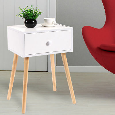 Mid Century Modern Accent Coffee Tea Table White With Drawer Storage