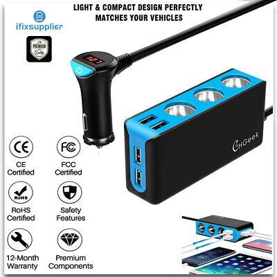 4 USB KFZ Ladegerät 3 Auto Zigarettenanzünder Steckdose Verteiler Adapter 12/24V (I Phone 5 Usb-adapter)