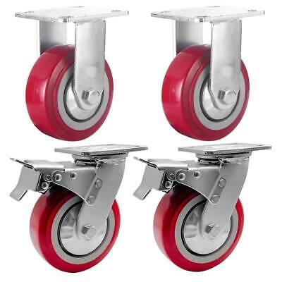 4 Pack 6 Heavy Duty Caster Wheel Plate Maroon Pu Wheels 2 W Brake 2 Rigid