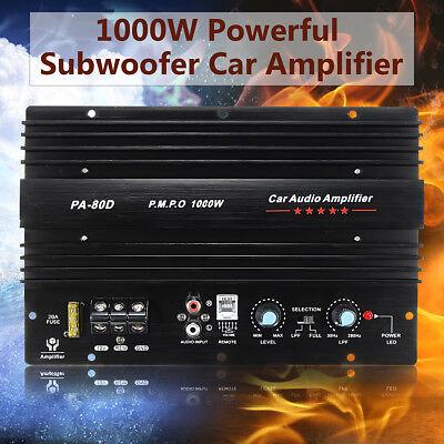 12V 1000W Mono Car Audio Power Amplifier Powerful Bass Subwoofers Amp PA-80D US