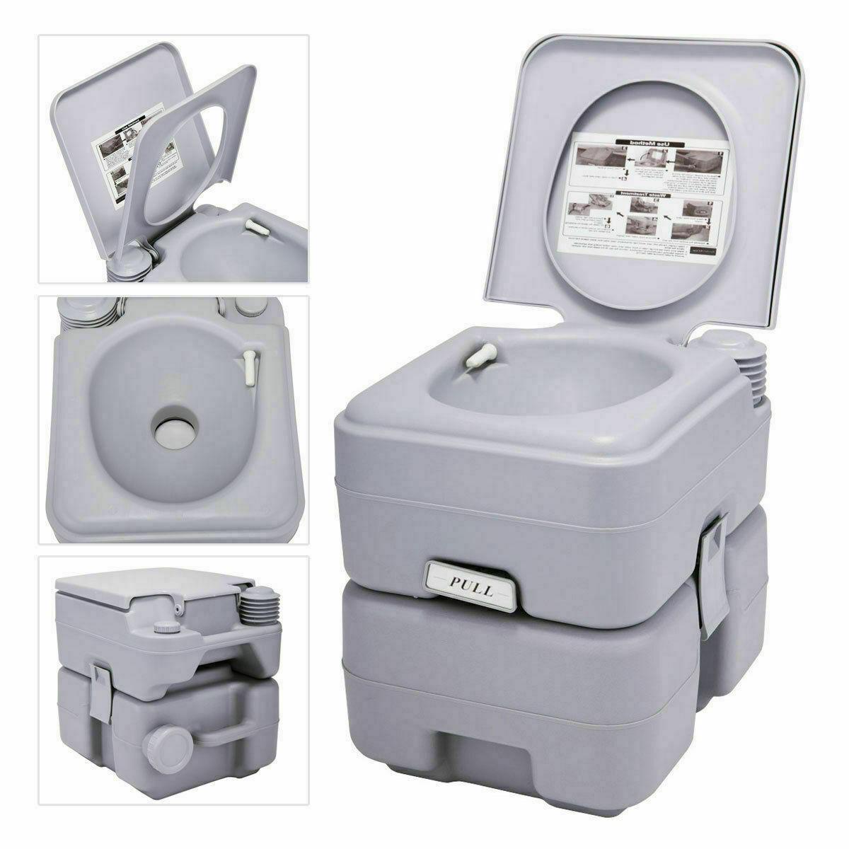 Green 5 Gallon 20L Toilet Flush Travel Camping Commode Potty
