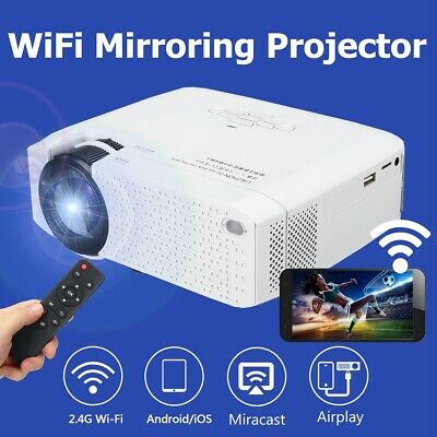 Portable 3D LED Wifi Video Projector Wireless Home Cinema Full HD 1080P SD USB