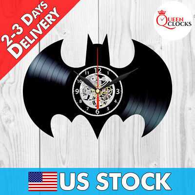 Batman Sign Logo Emblem DC Comics Vinyl Record Wall Clock Room Decor Best