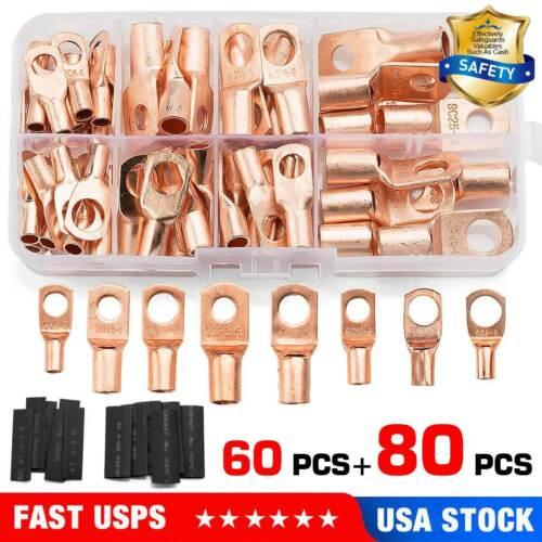 140PCS Copper Ring Terminal Lug Barrel Wire Crimp SC Battery Welding Connectors