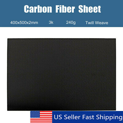 Carbon Fiber Plate Panel Sheet Board 3K Twill Weave Matte Surface 400x500x2mm US