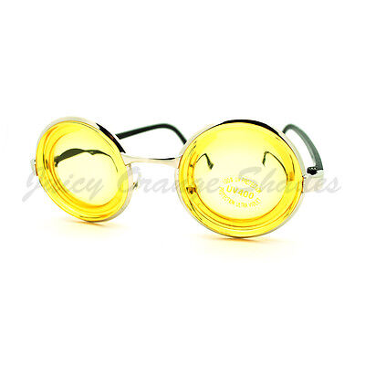 Nerdy Thick Yellow Lens Round Circle Glasses Novelty Dizzy Distorted (Thick Nerdy Glasses)
