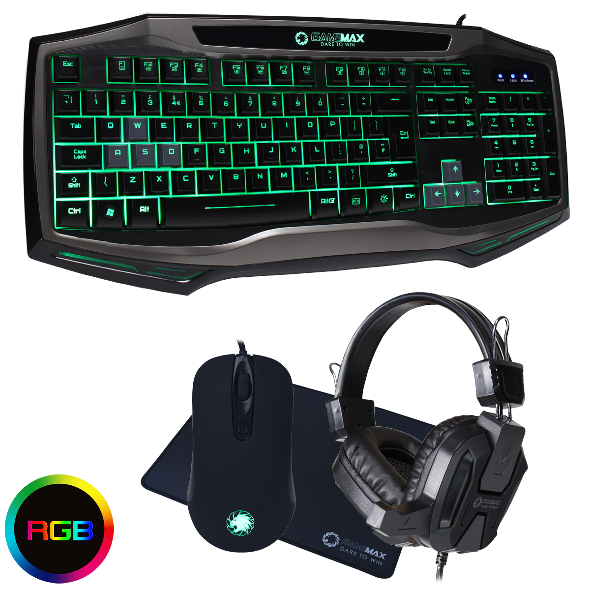 bcaffbf7ddb Details about Game Max Raptor RGB PC Gaming Keyboard & Mouse, Black Headset  & Mouse Mat