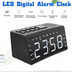Digital Alarm Clock AM FM Radio Snooze LED HD Date Time Temperature Display