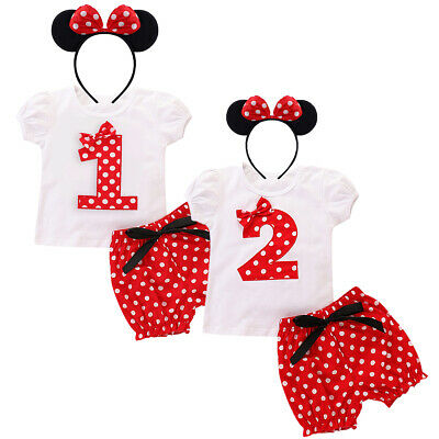 Baby Girl Minnie Mouse Bow T-shirt Short Pant Clothes Outfits for Birthday Party