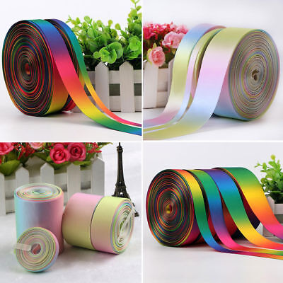 Rainbow Double Sided Pastel Satin & Grosgrain Ribbon 9 13 25 38mm 38mm 50mm 75mm (Pastel Ribbons)