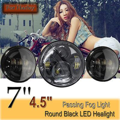 "7"" LED Projector Daymaker Headlight & 2x 4.5"" Passing Lights For Harley Davidson"