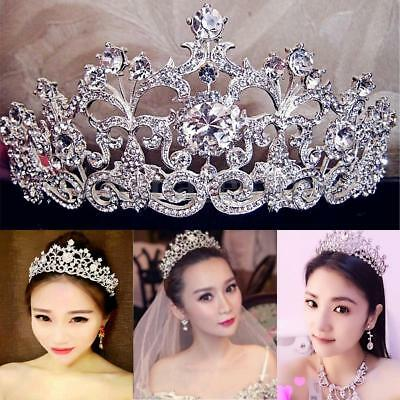 Bridal Wedding Rhinestone Crystal Tiara Hair Band Princess Prom Crown - Crown Headband
