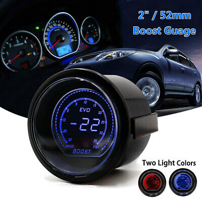 2'' 52mm PSI Turbo Red & Blue Display LED Vacuum Boost Meter Gauge Auto Car